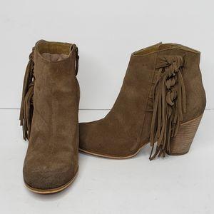 BP Talton Suede Fringe Booties 9 Brown Leather